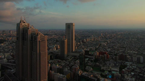 Skyscrapers and cityscape at sunset Footage