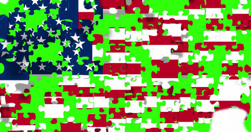 united states of america flag on puzzle pieces background, falling down on chroma key green screen Footage
