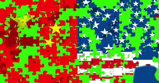 flag of the half republic of china and half usa united states of america flag on puzzle pieces Live Action