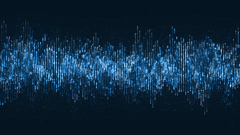 Digital wave particles music and small particles dance motion on wave for digital background Animation