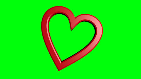 two cute red hearts moving on green mate. Big heart and little heart. Valentines Animation