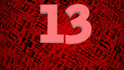 Thirteen, magic number, symbol of unhappiness. Rotating red background with Animation