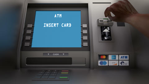 Customer insert card in the atm and check balance Animation