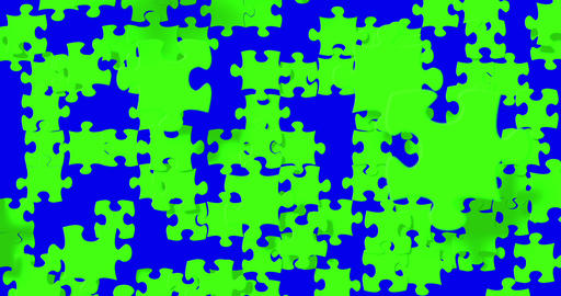 many puzzle pieces with color chroma key green screen falling down on chroma key blue screen Live Action