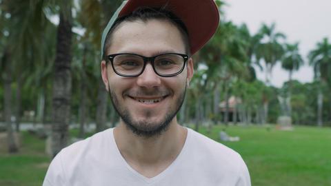 Young caucasian man portrait Footage