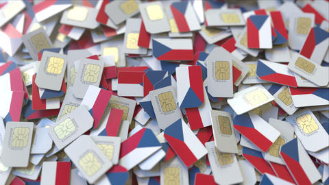 Multiple SIM cards with flag of the Czech Republic. National mobile ビデオ