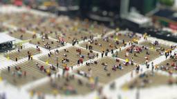 Fans Crowd Into Stadium Concert Shot Timelapse Tilt Shift Footage