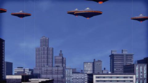 Vintage Alien Invasion: UFO Armada (Color Version) Animation