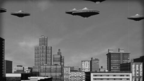 Vintage Alien Invasion: UFO Armada over City (Black and White) Animation