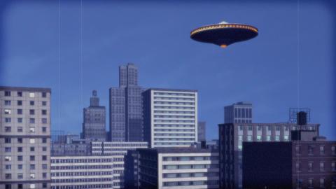 Vintage Alien Invasion: UFO over downtown. (Color) Animation