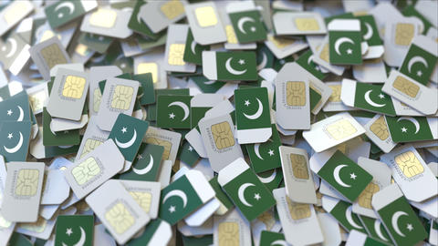 SIM cards with flag of Pakistan. Pakistani cellular network related conceptual ビデオ