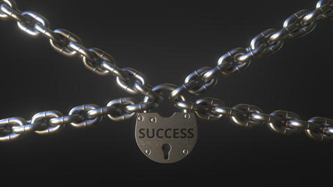 SUCCESS word on a padlock holding metal chains. Conceptual 3D animation Footage