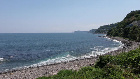 Japanese landscape. Sunny day seaside scenery Live Action