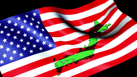American flag CG closeup wind Animation