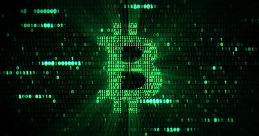 virtual green bitcoin symbol crypto digital currency on green matrix background, new business Live Action