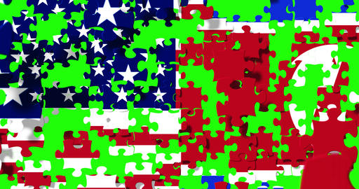 half north korea flag and half united states of america flag on puzzle pieces background, falling Footage