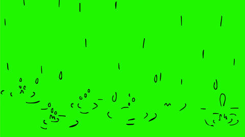 Raindrops Dropping on Water Drawing 2D Animation Animation