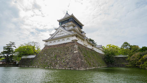 Kokura castle landmark in Kitakyushu, Japan time lapse time lapse Live Action