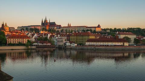 Prague city skyline with Vltava River in Prague, Czech Republic time lapse Footage