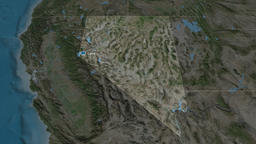 Nevada - state of the United States. Satellite Animation