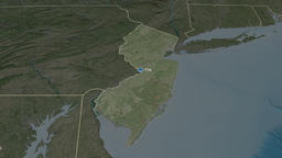 New Jersey - state of the United States. Satellite Animation
