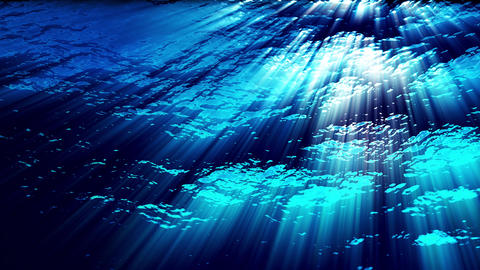 Water FX0325: Underwater ocean waves ripple and flow with light rays Animation