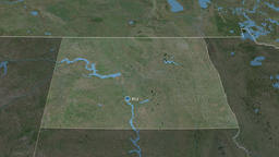 North Dakota - state of the United States. Satellite Animation
