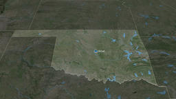 Oklahoma - state of the United States. Satellite Animation