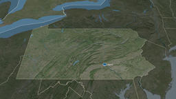 Pennsylvania - state of the United States. Satellite Animation
