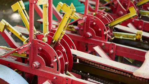 Old non-working agricultural machinery in the museum Footage
