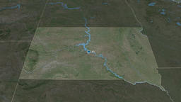 South Dakota - state of the United States. Satellite Animation