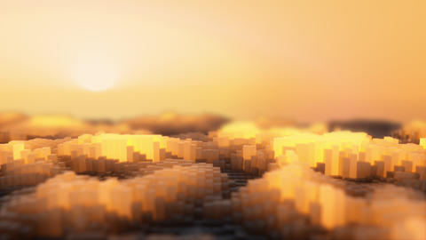3d rendering of the abstract cubes waves orange Animation