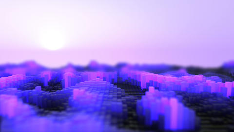 3d rendering of the abstract cubes waves purple Animation