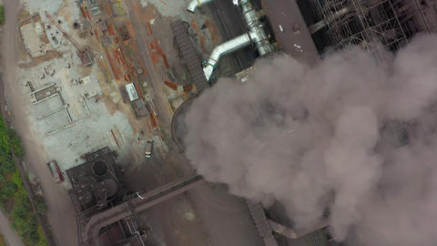 Industry pipes pollute the atmosphere with smoke, ecology pollution, smoke Live Action