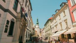 Landmark Timelapse: Capital of Slovakia - Bratislava, People Walking in Old Town Footage