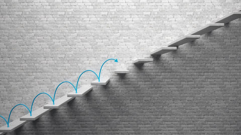 Go up concept, Career ladder, Blue arrow climbing and descending the stairs Animation