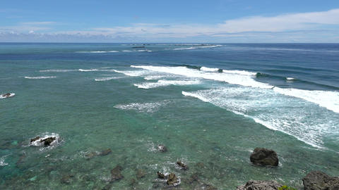 Miyako island, Japan-June 26, 2019: Pacific ocean viewed from Higashi Hennazaki in Miyako island, Footage