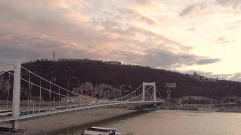 Elizabeth Bridge in Hungarian capital Budapest Live Action