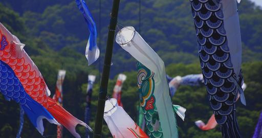 Carp streamers at Ryujin big bridge in Ibaraki daytime sunny closeup ビデオ