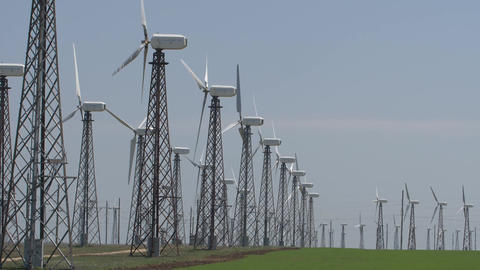 Slow motion wind turbines in working position Footage