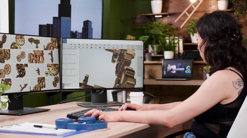 Female designer works on new gear prototypes in professional 3D software Footage