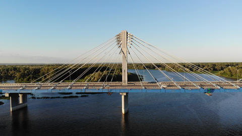 Flying along the Kirovsky transport bridge over the Samara river in Russia Live Action