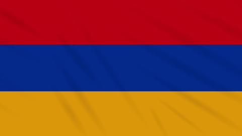 Armenia flag waving cloth background, loop Animation