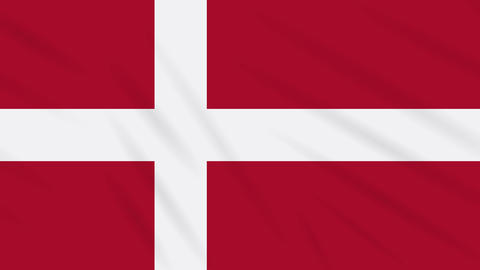 Denmark flag waving cloth background, loop Animation