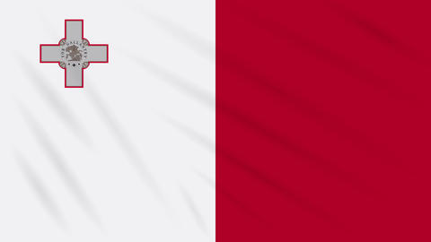 Malta flag waving cloth background, loop Animation