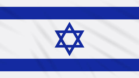 Israel flag waving cloth background, loop Animation