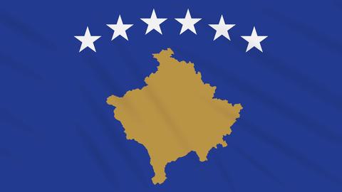 Kosovo flag waving cloth background, loop Animation