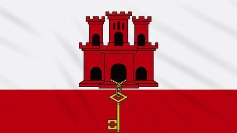 Gibraltar flag waving cloth background, loop Animation