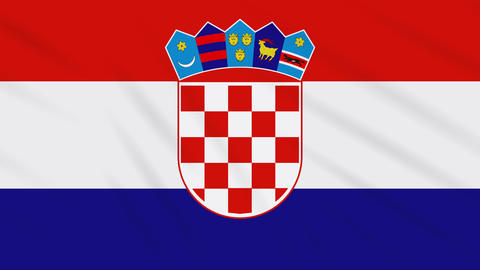 Croatia flag waving cloth background, loop Animation