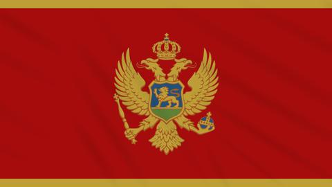 Montenegro flag waving cloth background, loop Animation